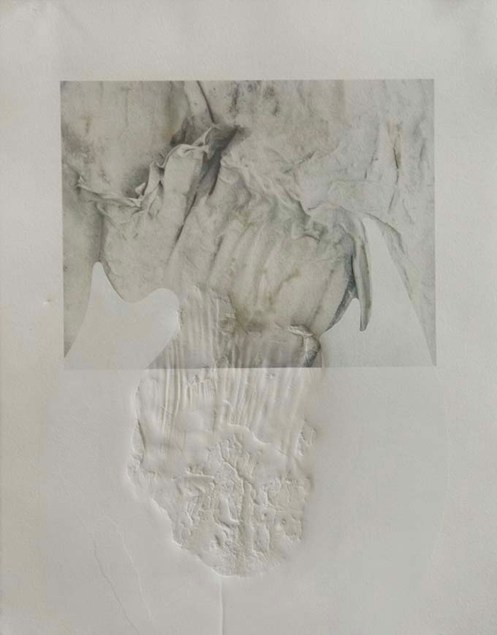 Michelle Dickson, Untitled Palimpsest 1, 2013, digital print, silkscreen & collograph, 14 x 11 inches