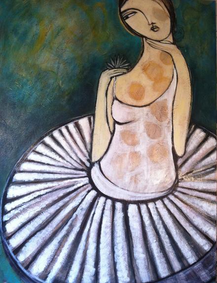Mattye Hamilton, Rotating Spotlight, oil on canvas, 48 x 36 inches