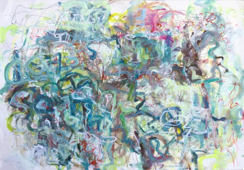 Kathryn Shagas, Forest Wanderings, mixed media on paper, 32 x 44 inches