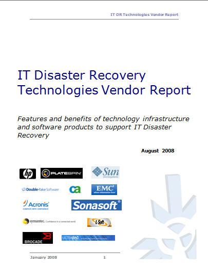 IT DR Vendor Technologies Report