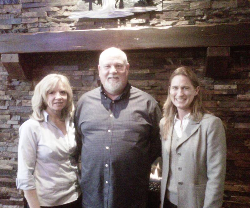 With Blazing Onion owners, David and Lorrie Jones, on Opening Day.