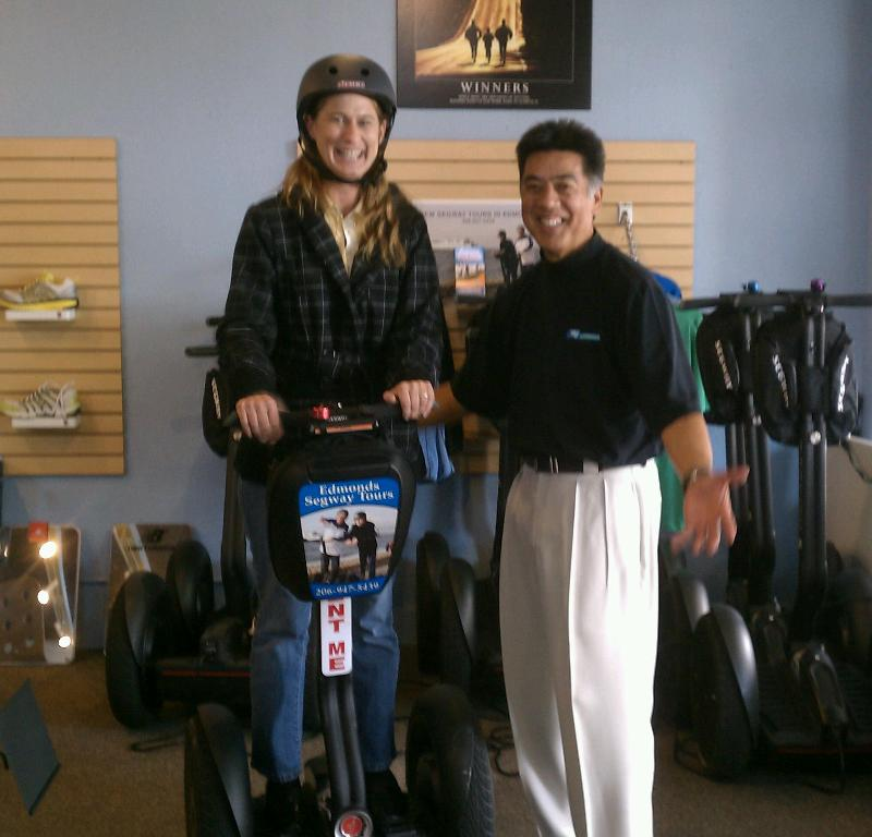 Steph getting outfitted for her Segway tour of Edmonds