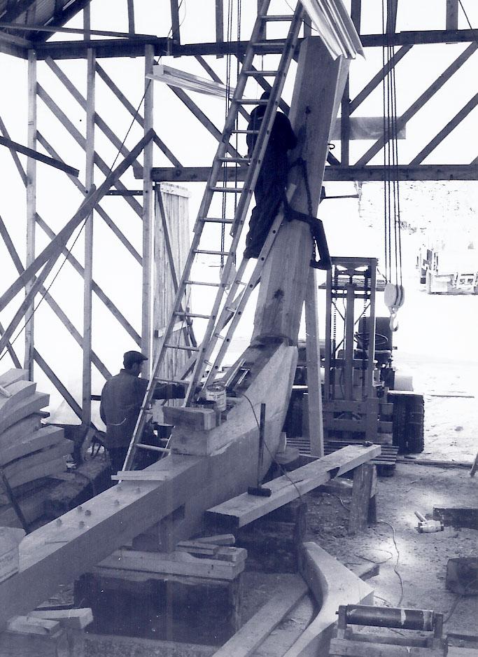 Working on the stem of the Schooner Heritage 1981