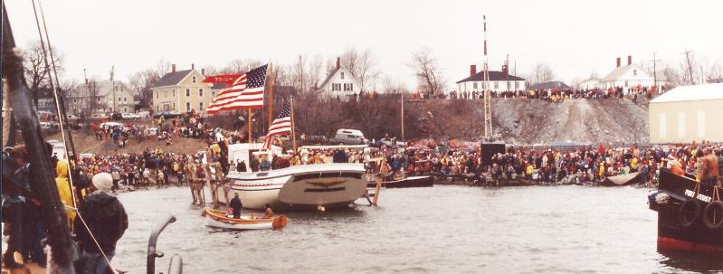 Crowd at launching of the Schooner Heritage 1983