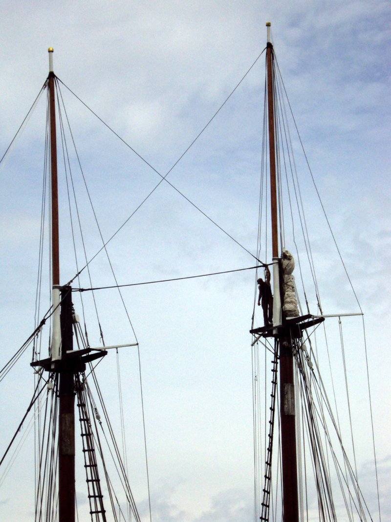 Adam at the top of the main mast