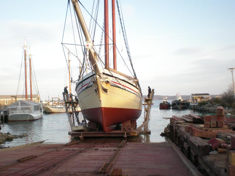 Schooner Heritage coming out of the water on the marine railway