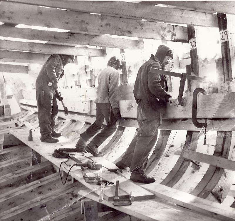 Putting in the clamp on the schooner Heritage 1981