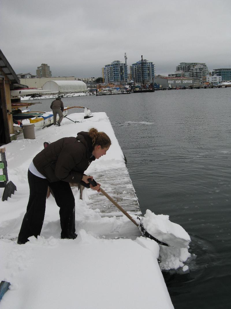 Natasha shoveling snow