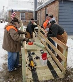 PA ramp crew installing ramp