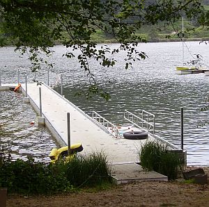 accessible dock with edge protection and canoe boarding station