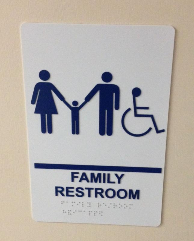 Family Restroom sign with family and wheelchair accessible logos