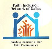 logo for Faith Inclusion Network of Dallas, with stylized people holding hands to form an arch and others inside the building representing different disabilities