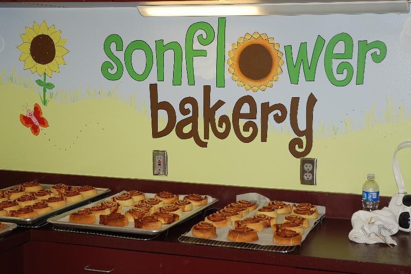 Sonflower Bakery sign and baked goods