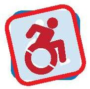 Logo showing active person propelling wheelchair