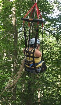 young woman using harness seat on zip line