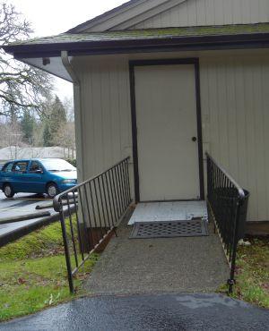 Access ramp in need of railing repairs