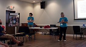 Lynn and Sally teaching autism workshop