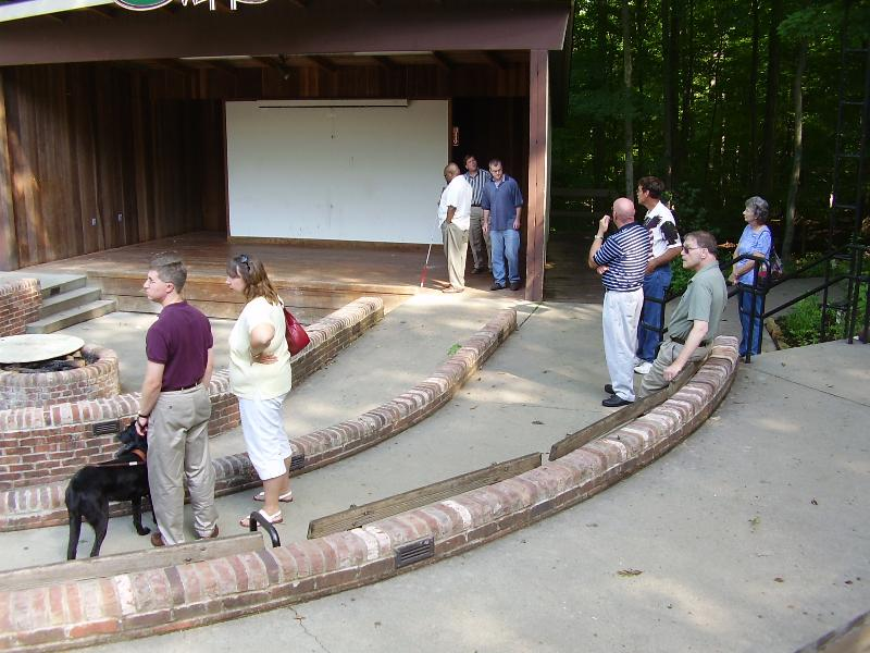 Task Force members visiting accessible amphitheater at Bradford Woods camp