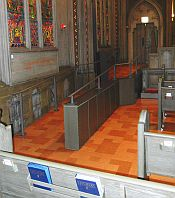 ramp that leads directly to chancel and pulpit