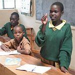 Schoolchildren using sign language in Kenya