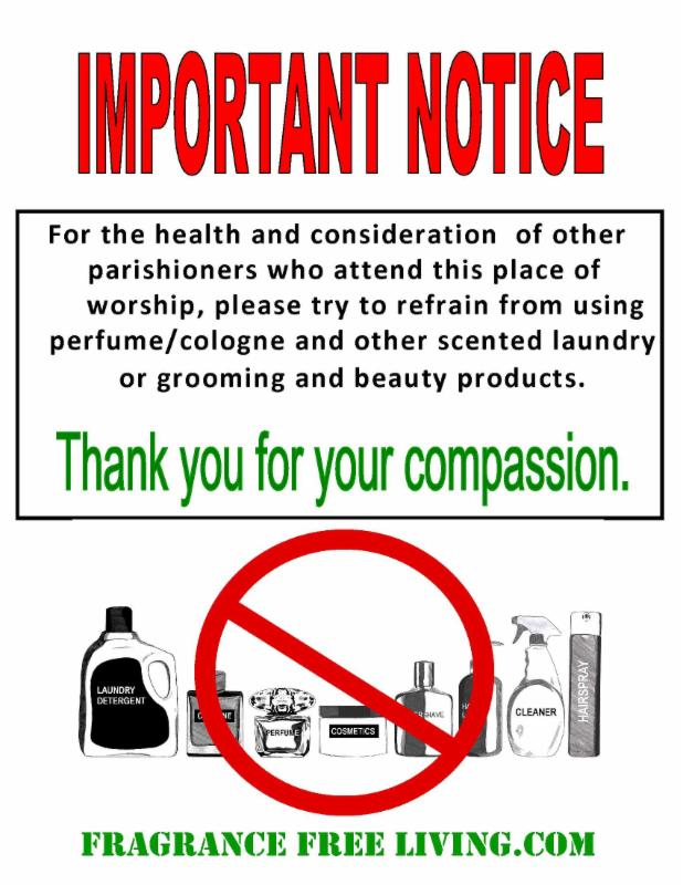 Sign reminding parishioners to refrain from using scented products
