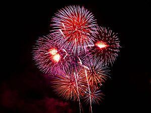 Fireworks exploding against a black sky