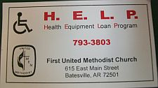business card for H.E.L.P with logos and church contact information