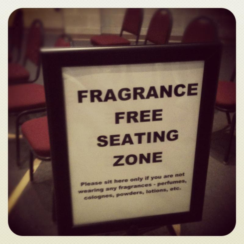 photo of fragrance free seating zone sign