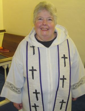 Pastor Nancy Webb in robe