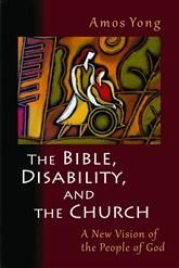 Cover of The Bible, Disability, and the Church with stylized picture of woman pushing a man in a wheelchair outdoors