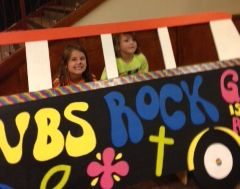 VBS bus prop with two children's faces