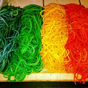 rainbow colored cooked spaghetti for a messy activity