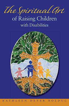 Book cover showing  mosaic of family next to tree: the trunk is a cross with deep roots