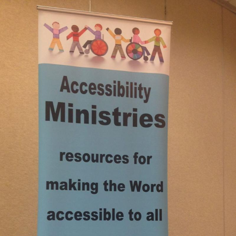 Banner with image of children standing and using wheelchairs_ with the words Accessibility Ministries resources for making the Word accessible to all