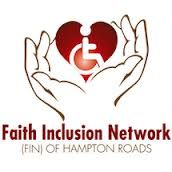 FIN Virginia logo showing hands holding a heart with the international access symbol superimposed