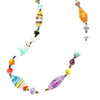 A multi-colour oval bead necklace
