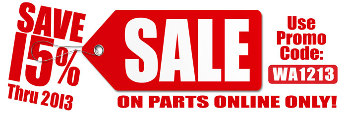 Save 15% On Parts Online Thru 2013