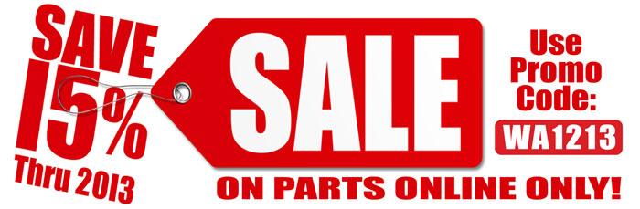 Save 15% On Parts Online Thru 2013