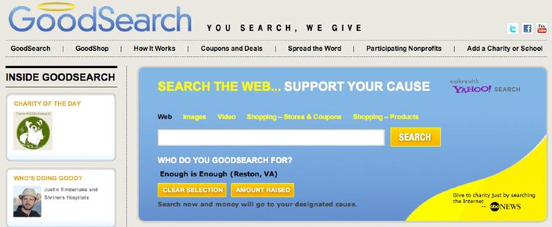 GoodSearch: A New Way To Support Enough Is Enough