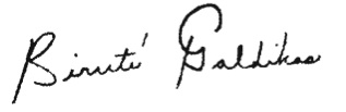 Birute Mary Galdikas Signature
