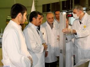 Iranian President Mahmoud Ahmadinejad visits a nuclear facility.