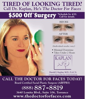 Dr. Kaplan - Tired of Looking Tired Newspaper Ad
