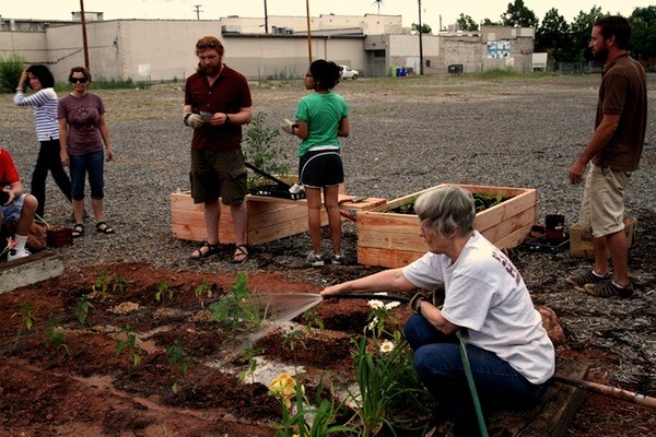 Locals cultivate the empty lot at 2100 S Highland Drive