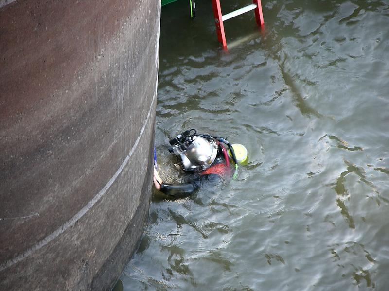 Diver working on dam