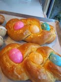 bread with easter eggs