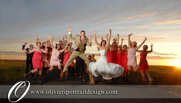 jumping wedding photo