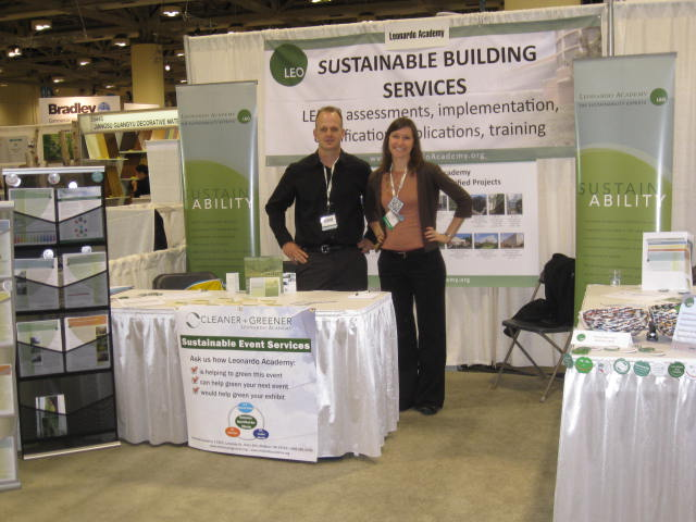 Leonardo Academy staffing booth at Greenbuild