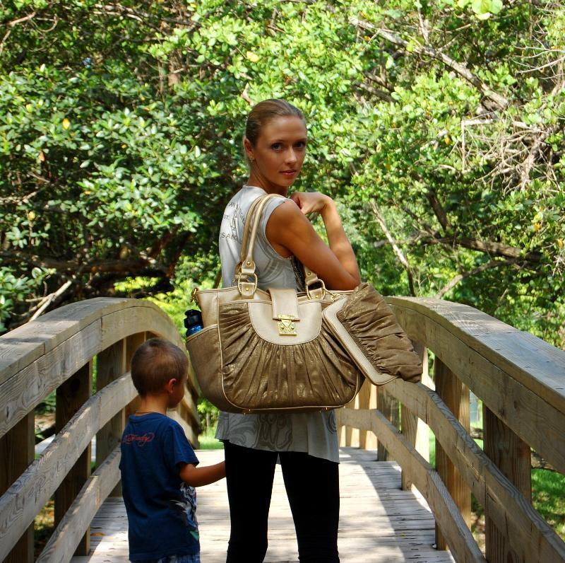 baby bags designer sale ntye  Blue Diaper Bag Gold on bridge