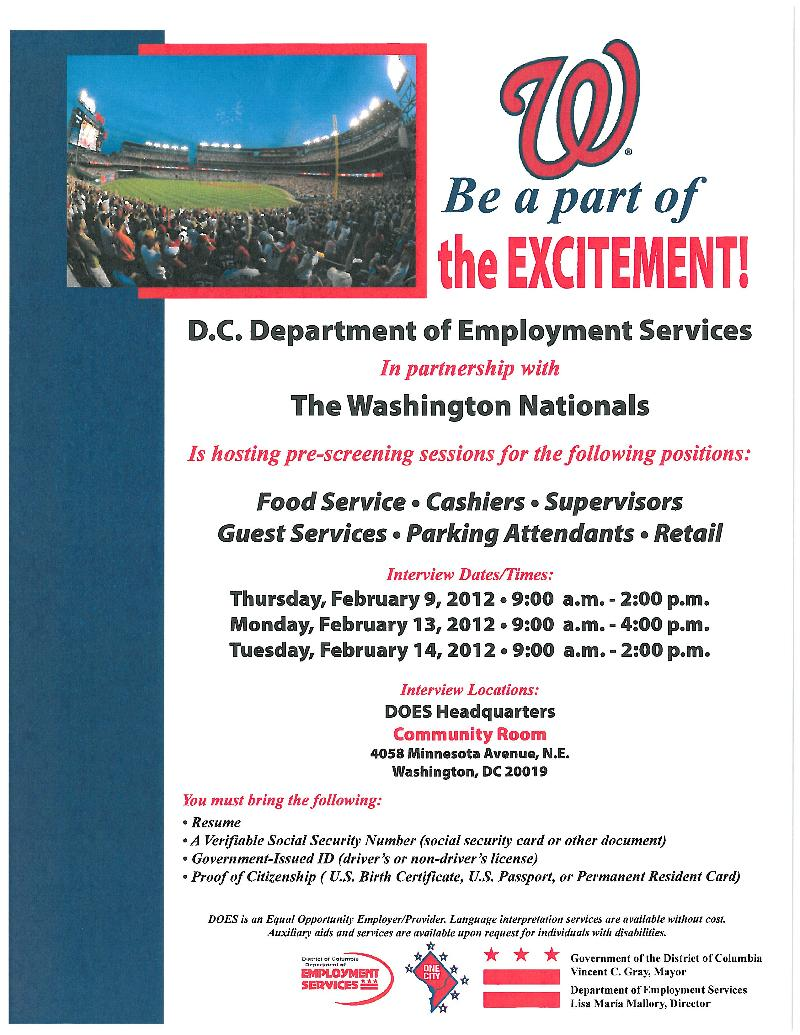 Nationals Employment Opportunity