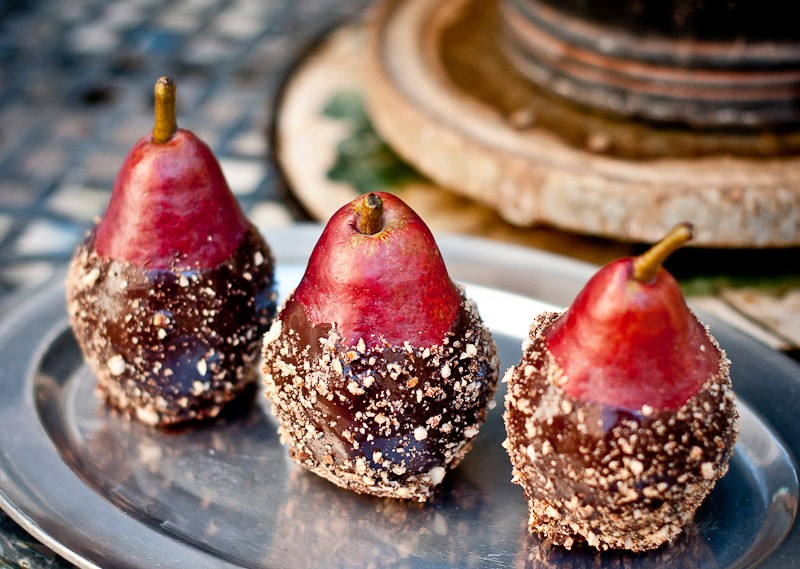 choc dipped pears